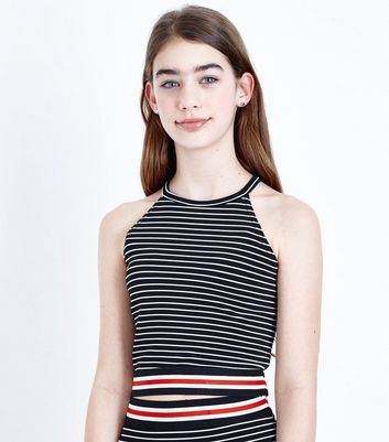Teens Black Stripe Contrast Hem Cami Top