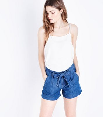 Blue Tie Waist Lightweight Denim Shorts