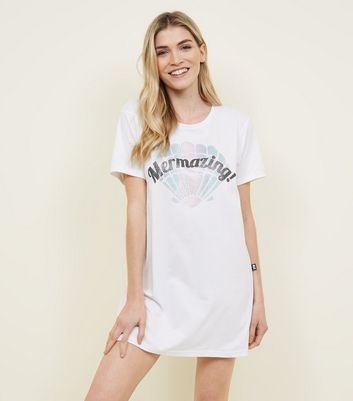 White Glitter Mermaid Slogan Nightshirt