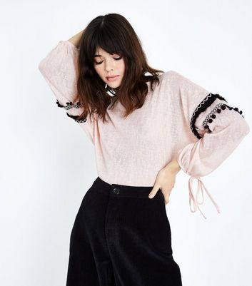 QED Pale Pink Pom Pom Trim Sleeve Jumper