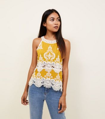 Petite Mustard Crochet Trim Sleeveless Top