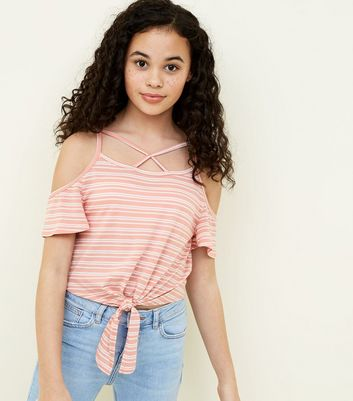 Teens Orange Stripe Lattice Front Cold Shoulder Top