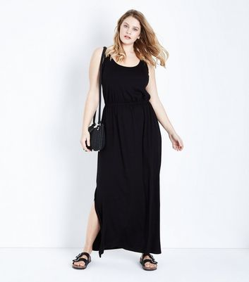 Curves Black Sleeveless Jersey Maxi Dress