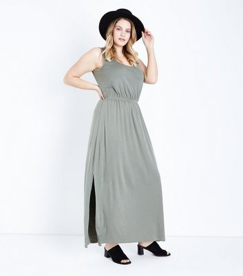 Curves Khaki Sleeveless Jersey Maxi Dress