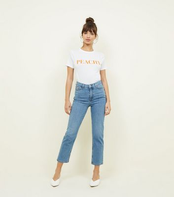 Blue Cropped Straight Leg Harlow Jeans