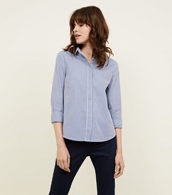 Blue Stripe Curved Hem Shirt