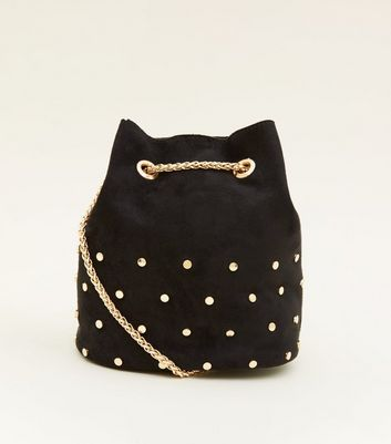 Black Suedette Studded Mini Duffle Bag