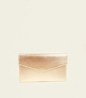 Rose Gold Envelope Gold Trim Clutch Bag