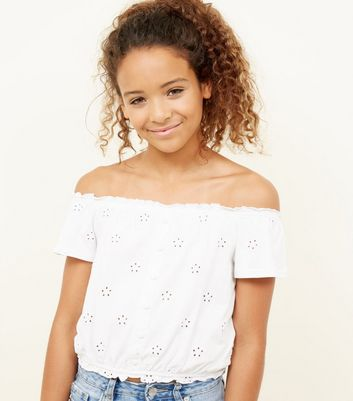 Teens White Broderie Button Front Bardot Top