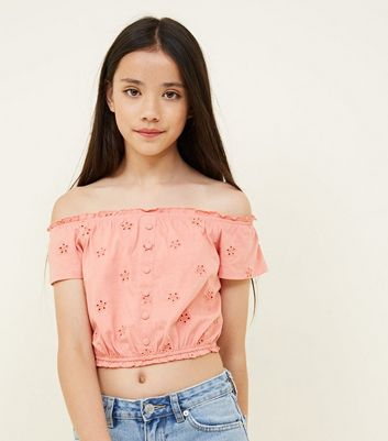 Teens Coral Broderie Button Front Bardot Top