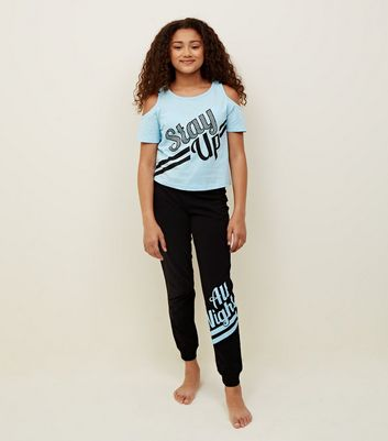 Girls Pale Blue Stay Up Slogan Pyjama Set
