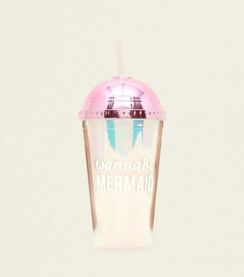 Clear Iridescent Wanna Be Mermaid Slogan Water Bottle
