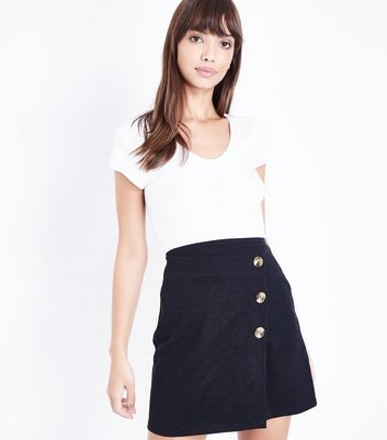 Black Cross Hatch Button Front Wrap Skirt