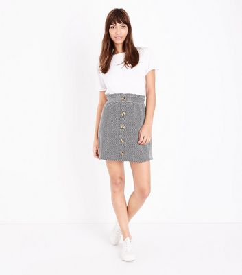 Black Herringbone Button Front Paperbag Skirt