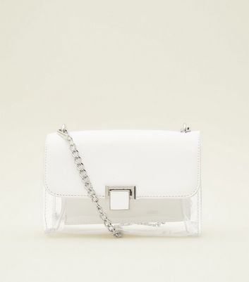 White Clear Contrast Chain Shoulder Bag