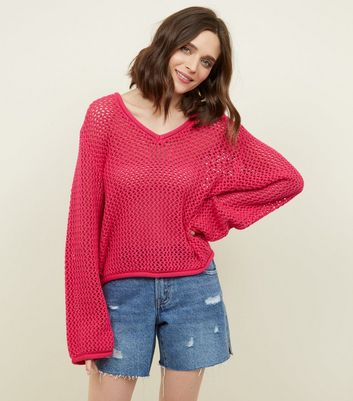 Noisy May Bright Pink Pointelle Knit Top