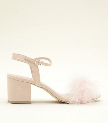 Nude Suedette Faux Feather Block Heel Sandals