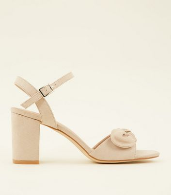 Nude Suedette Bow Strap Block Heels