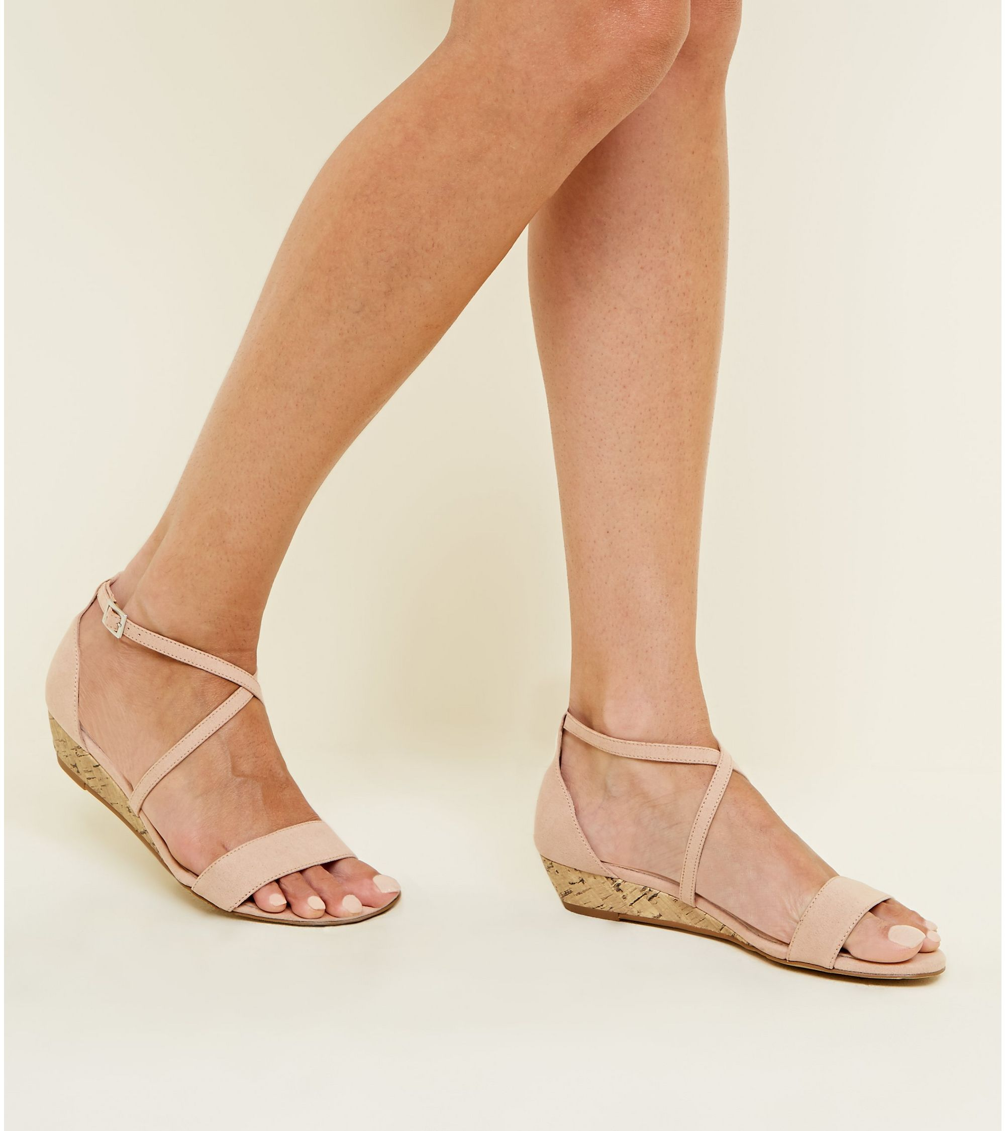 3f9e4294a6a Nude Comfort Suedette Low Wedge Heel Sandals