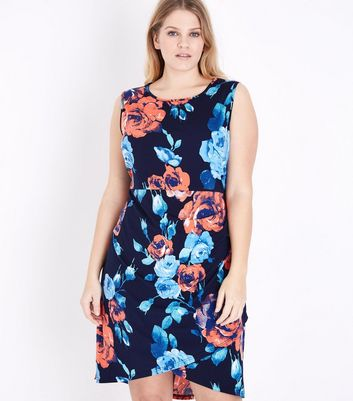 Blue Vanilla Curves Navy Floral Print Sleeveless Dress