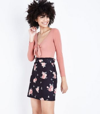 Black Floral Paperbag Waist Mini Skirt