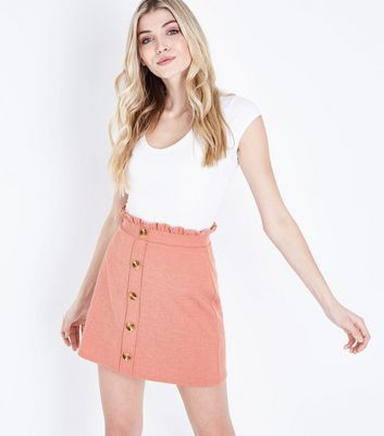 Pink Button Front Paperbag Mini Skirt