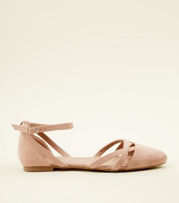 Girls Nude Suedette Ankle Strap Ballet Pumps