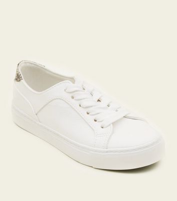 Teens White Faux Snakeskin Back Chunky Trainers