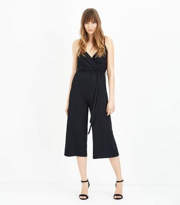 Black Strappy Ribbed Jersey Jumpsuit