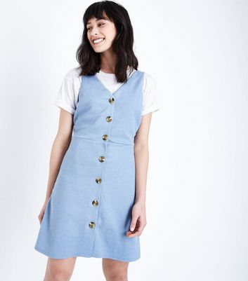 Blue Cross Hatch Button Front Pinafore Dress