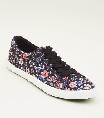 Teens Black Floral Canvas Lace Up Trainers