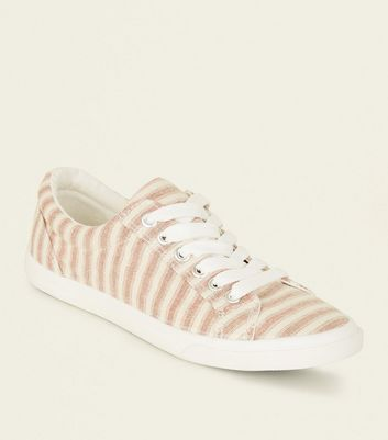 Girls Pink Canvas Stripe Lace Up Trainers