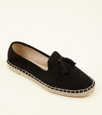Teenager – Schwarze Espadrille-Loafers in Wildleder-Optik mit Quasten