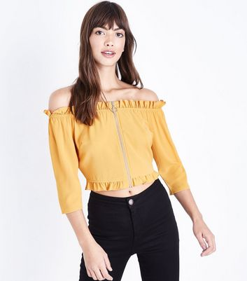 Mustard Zip Front Bardot Neck Top