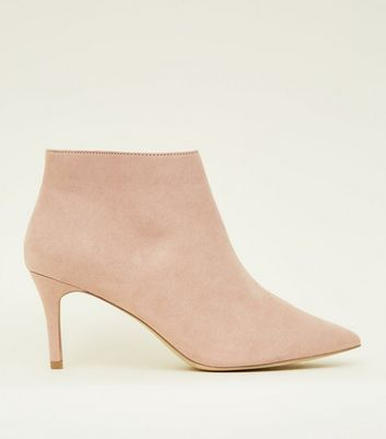 Wide Fit Nude Suedette Stiletto Heel Ankle Boots