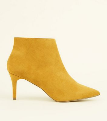 Wide Fit Mustard Suedette Stiletto Heel Ankle Boots