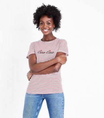 White Stripe Ciao Ciao Embroidered T-Shirt