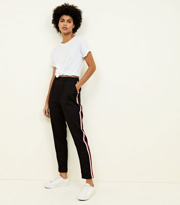 Tall Black Side Stripe Tapered Trousers