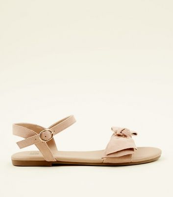 Girls Cream Suedette Open Toe Bow Sandals