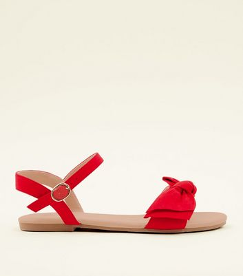 Girls Red Suedette Bow Front Sandals