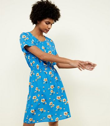 Tall Blue Floral Shirred Waist Dress