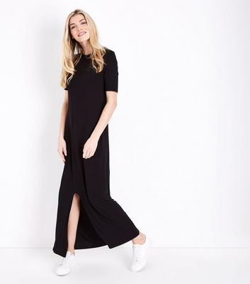 Tall Black Split Hem Jersey Maxi Dress