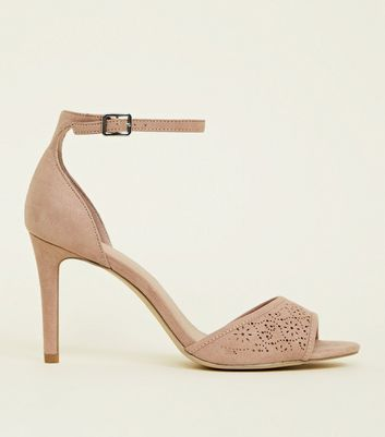 Wide Fit Nude Suedette Laser Cut Peep Toes