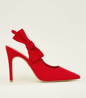 Wide Fit Red Suedette Bow Slingback Courts