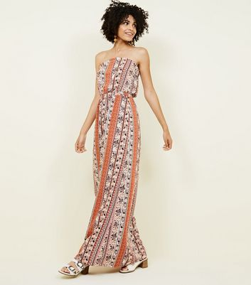Tall White Floral Print Bandeau Maxi Dress