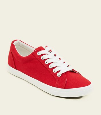 Teens Red Canvas Lace Up Trainers