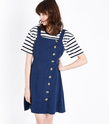 Navy Button Front Pinafore Dress