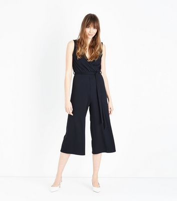Black Ribbed Sleeveless Jersey Culotte Jumpsuit by New Look