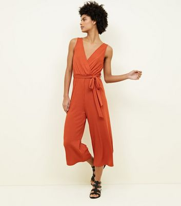 Rust Ribbed Sleeveless Jersey Culotte Jumpsuit