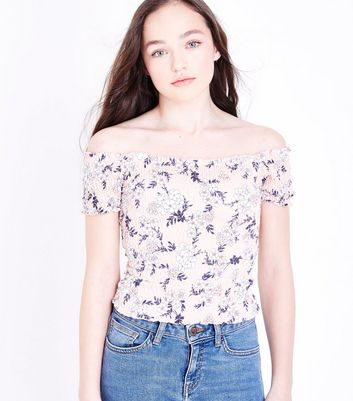 Teens Pink Floral Shirred Bardot Neck Top